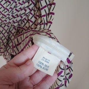 Anthropologie Tops - Edmé Esyllte Anthro Tan Purple Silk Faux Wrap Top